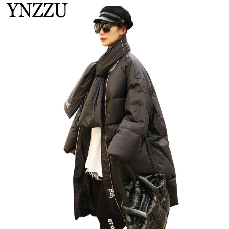 2019 Winter Solid Women Long   Down   jacket Scarf Loose Thick Warm   Down     coat   Female oversize Zip Long sleeve outwear YNZZU YO955