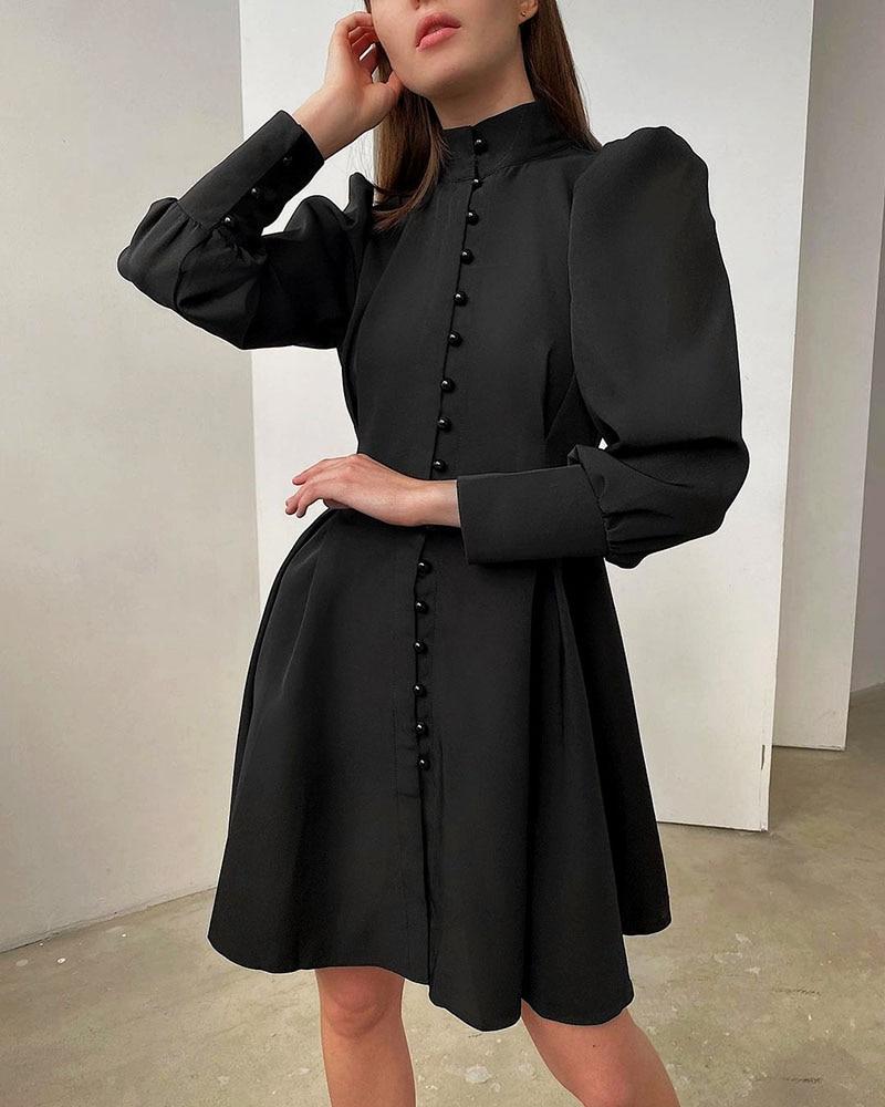 2021 New Puff-Sleeve Elegant Party Dress Women Solid Turtleneck Collar Ladies Streetwear Black Solid Button Mini Dresses Vestido 6