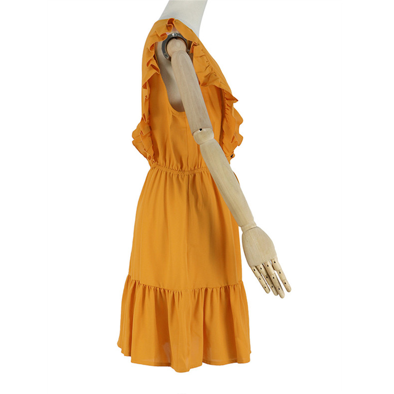 Ruffle Off Shoulder High Waist V Neck Casual Boho Beach Yellow Dress 3