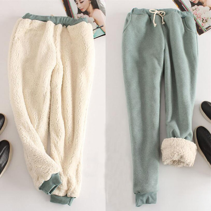 Women Winter Pants Imitation Cashmere Harem Pants Thickened Fleece Lined Comfortable Warm Casual Trousers Lady Pants Hh88