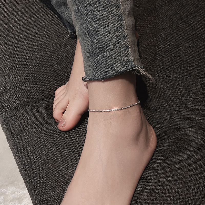 925 Sterling Silver Tassel Star Bead Charm Pendant Link Chain Anklet Party Jewelry for Women Beach Jewelry sl056