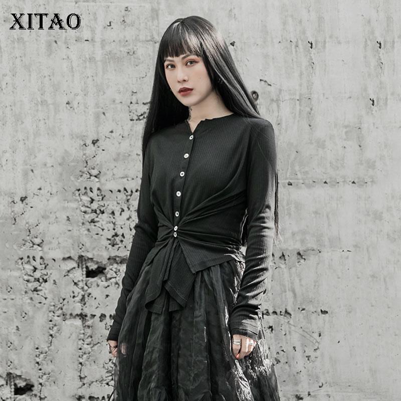 XITAO Punk Cardigan Women Fashion Irregular Buttons Cropped Slim Knitwear Black Trend Sweater Streetwear Women Clothes DMY3272