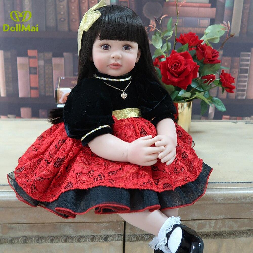 DollMai exclusif autorisé bebe reborn enfant en bas âge grand 60cm silicone vinyle reborn bébé poupée noble princesse poupées jouets cadeau
