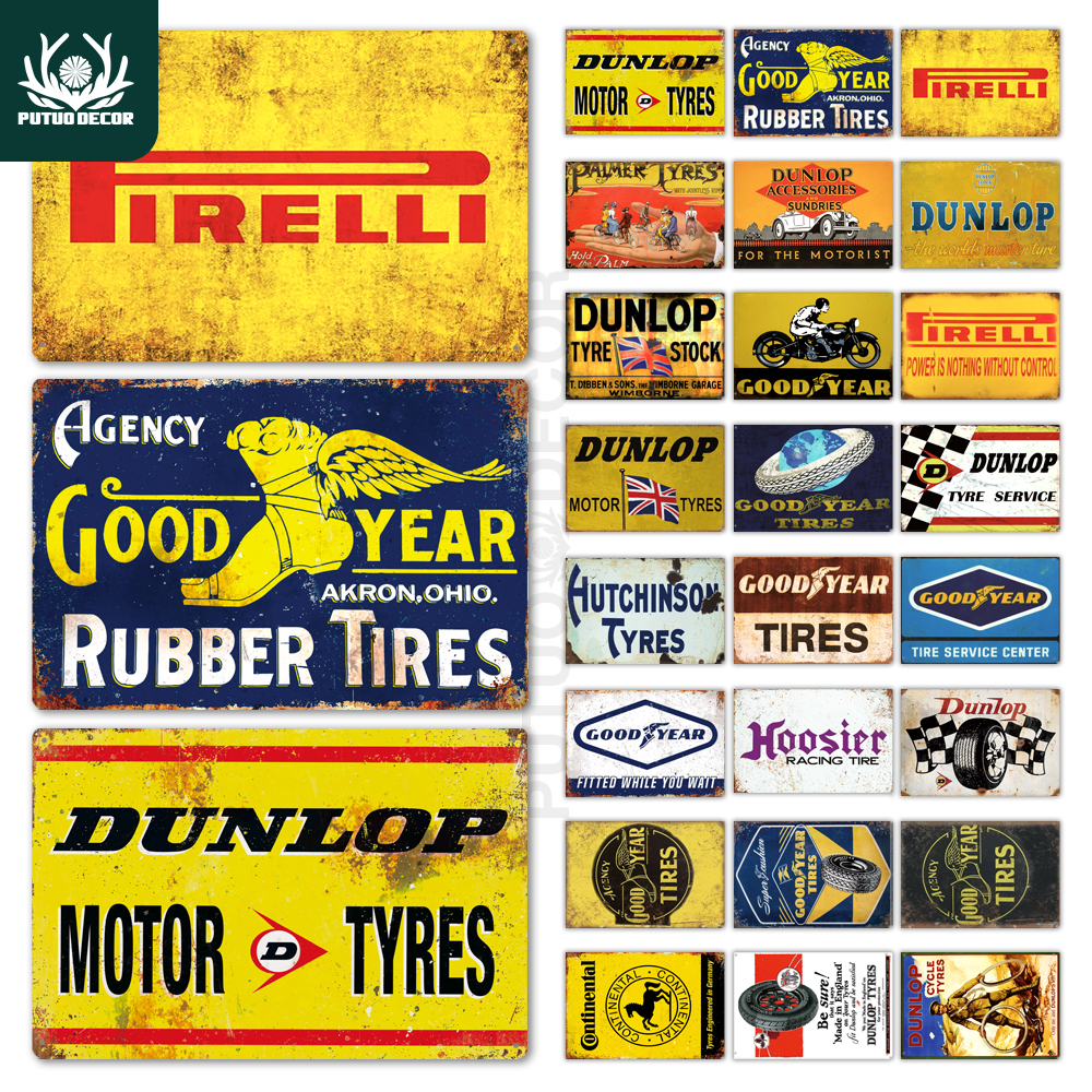 Tire Metal Signs Plaque Metal Vintage Retro Tin Sign Tyre Wall Decor For Garage Bar Pub Man Cave Iron Painting Decorative Plate