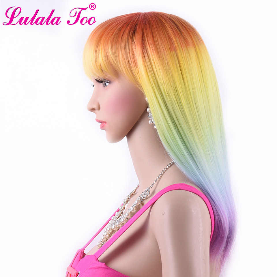 Lulalatoo Synthetic Wig With Bangs Straight Omber Rainbow Color Hair Wigs Heat Resistant Fiber Cosplay Wigs