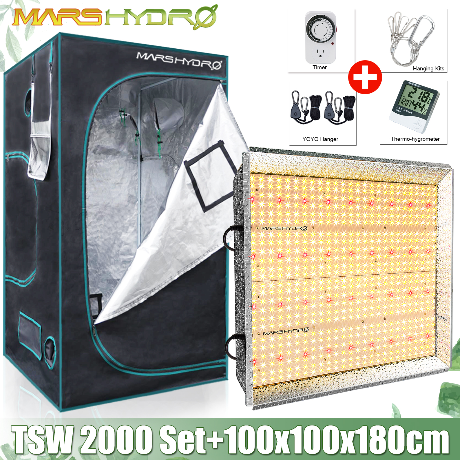 Mars Hydro TSW 2000W Panel de luz LED de cultivo de espectro completo + 100x100x180cm Kits de cultivo carpa hidropónica