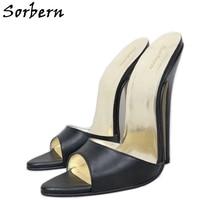 цена Sorbern Sexy 16Cm Bed Heels Slip On Sandals Summer Shoe Stilettos Open Toe Slides Heeled Sandalssize 14 Womens Custom Colors онлайн в 2017 году