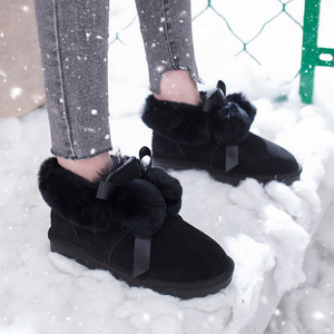Image 5 - SWYIVY Winter Shoes Women 2019 New Snow Boots Women Pom pom Fur Warm Ankle Boots Female Casual Shoes Black Thick Non slip Botas