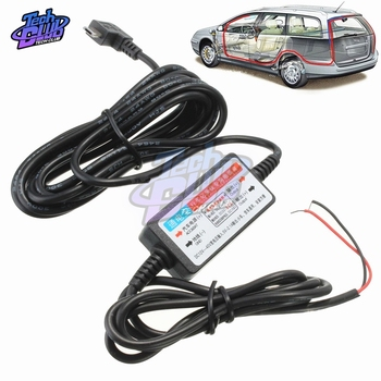DC 12V to 5V Mini USB Port Wire Cable Car Charger Kit for Camera Recorder Vehicle DVR Exclusive Power Supply Box image