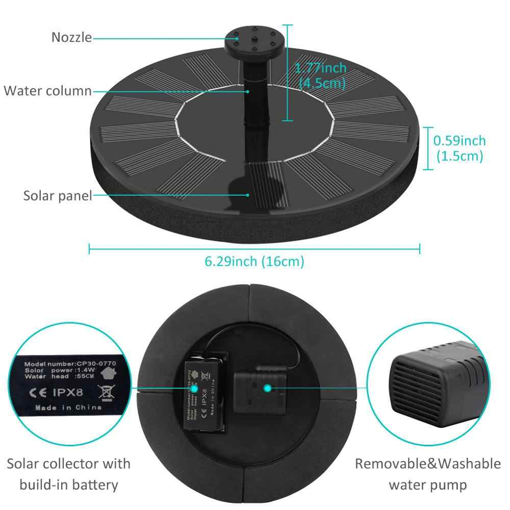 16/13cm Solar Powered Air Mancur Pompa Taman Kolam Renang Kolam Submersible Mengambang Panel Tenaga Surya/Solar Panel Air Mancur Untuk Outdoor Dekorasi