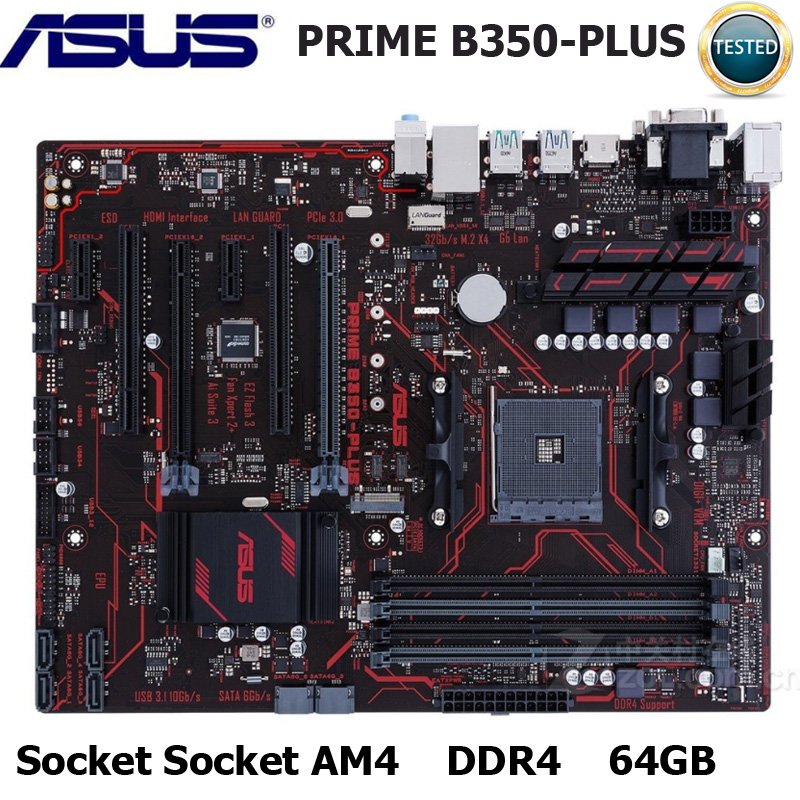 ASUS PRIME B350-PLUS Socket AM4 DDR4 Motherboard AMD Ryzen Athlon II 64GB PCI-E 3.0 USB3.1 DDR4 64GB Original Desktop Mainboard