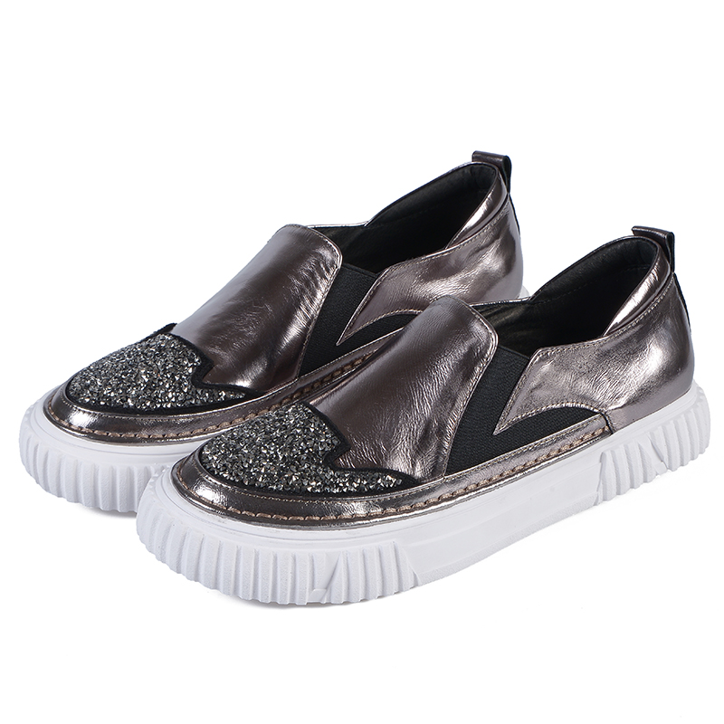women shoes geniune leather casual flat shoes sequin sneaker Female loafers lazy shoes leisure single casual shoes loafers shoes