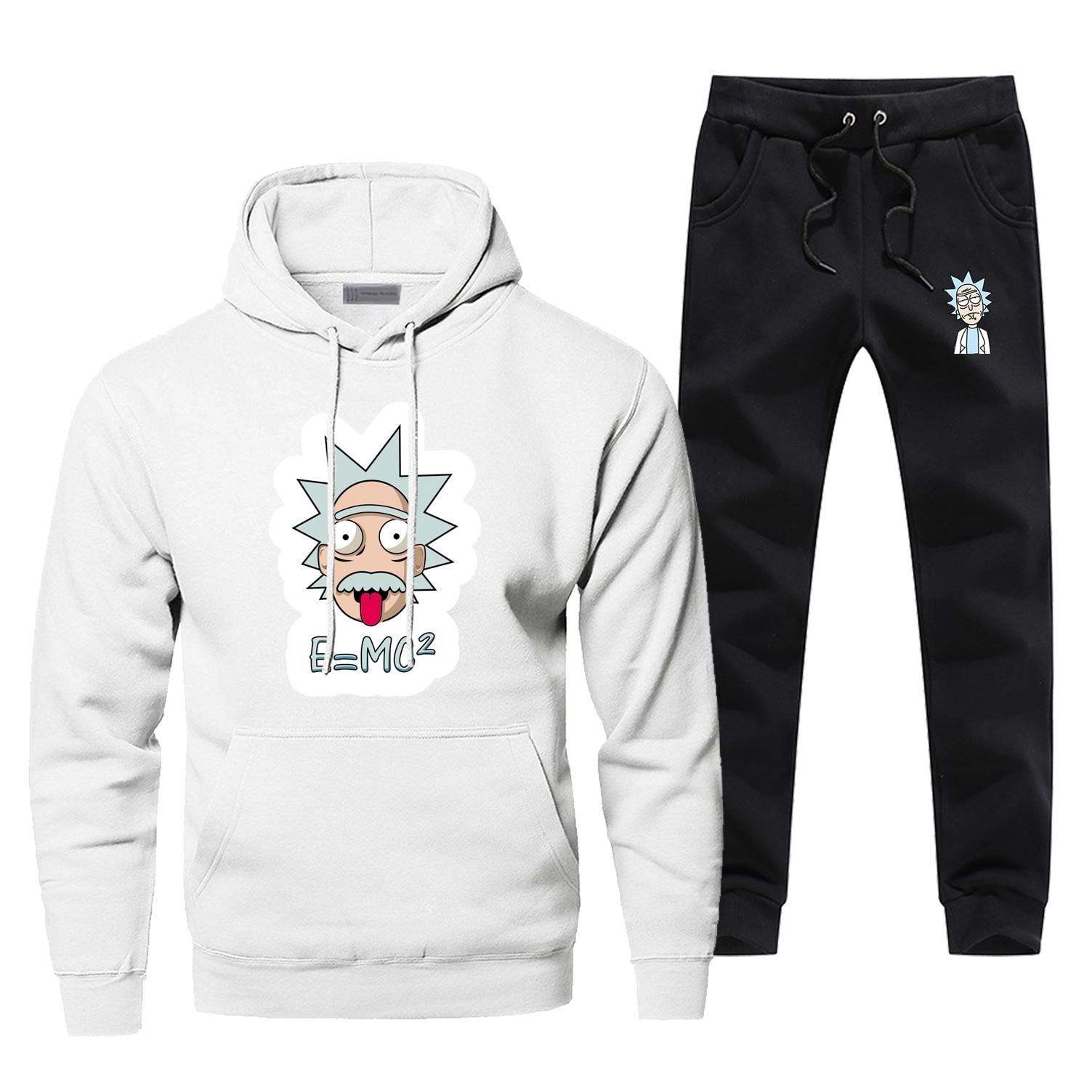 Rick And Morty Funny Einstein Print Hoodies Sweatshirts Set 2019 Winter Bodywarmer Anime Men's Full Suit Tracksuit Streetwear