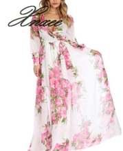 Xnxee женское платье с длинным рукавом и v образным вырезом