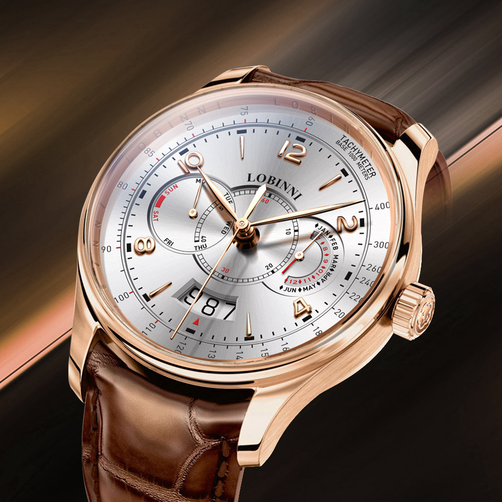 Luxury Switzerland Brand LOBINNI Men Automatic Watches Mechanical Men's Watch Multi-function Sapphire Chronograph Gent Hour 2020