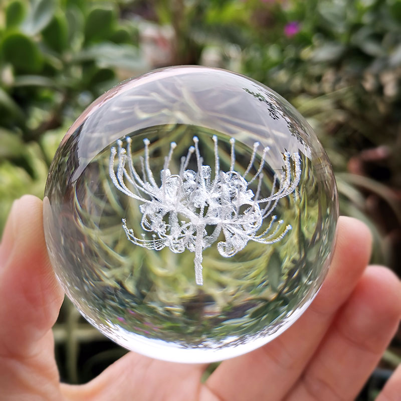 Crystal 3D Ball Equinox Flower Figurine Glass Laser Engraved Sphere Paperweight Home Desk Decoration Ornaments Crafts Gifts