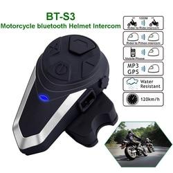 BT-S3 Motorcycle Helmet Intercom Bluetooth Headset Headphones BTS3 Motorbike Communication System FM Radio 3 Riders Walkietalkie