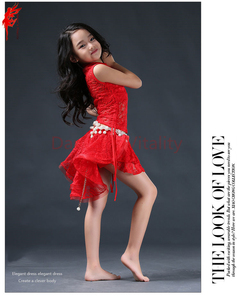Image 5 - Meninas elegantes roupas de dança do ventre 2pcs(sleeveles top + saia) meninas terno criança Encantadora dança do ventre roupas de dança do ventre 3 cores S/L