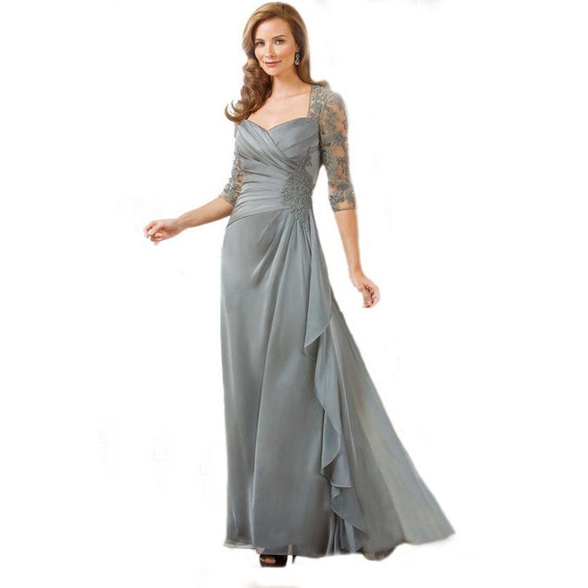 Vestido De Noiva Gorgeous Beaded Lace Half Sleeve Queen Neck Draped A Line Silver Grey Plus Size Mother Of The Bride Dresses