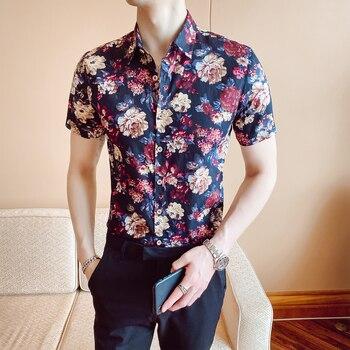 Nueva camisa a la moda de verano para hombre de Camisa ajustada...