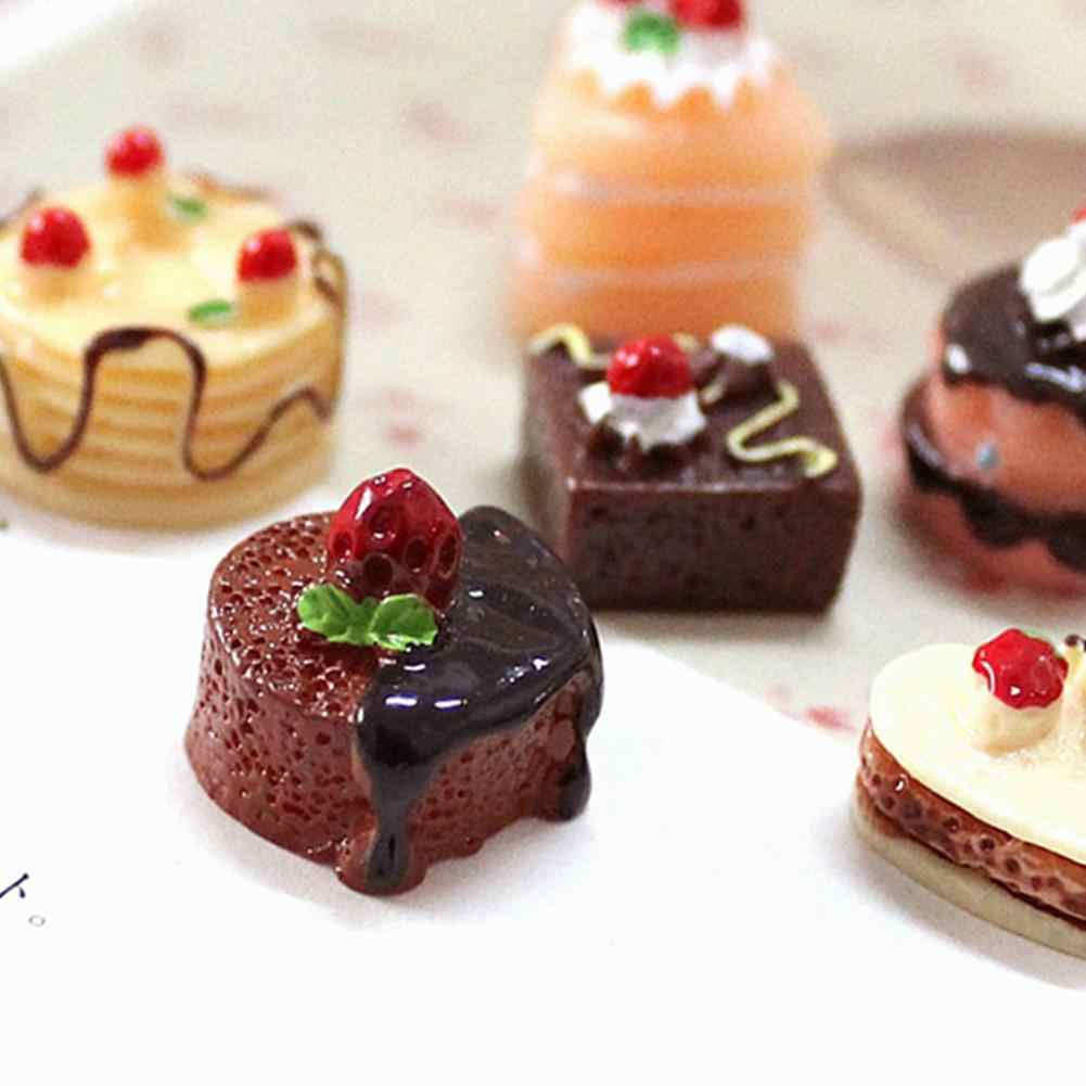 3Pcs Simulation Chocolate Cakes Miniature Food Figurine Dollhouse Accessories Realistic cake model perfect gifts for girls