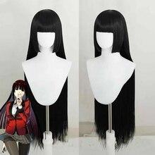 HAIRJOY  Kakegurui Yumeko Jabami Heat Resistant Synthetic Hair Long  Straight Black Grey Cosplay Wig