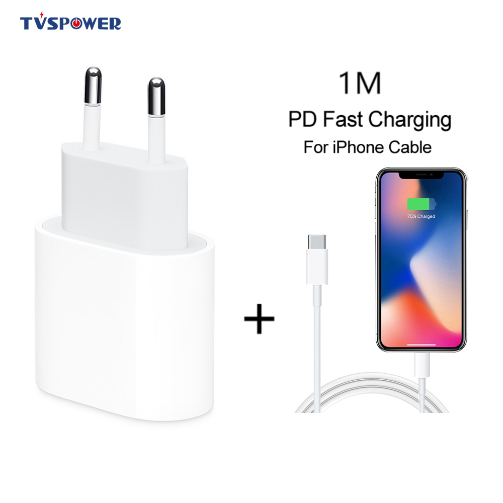 18W USB Type C Quick Charger Adapter Voor iPhone 11 pro Xs Max X Xr 8 Plus PD Snelle opladen Power Type-C EU Plug voor Apple Kabel