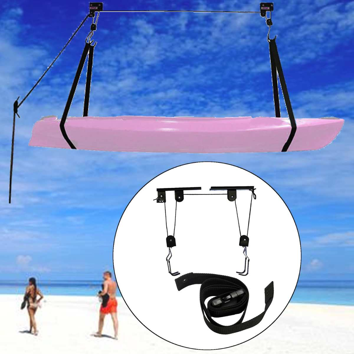 120cm Black Canoe Boat Kayak Buckle With Double Pull Button Kayak Hoist Lift Pulley System Storage Garage Ceiling Rack Part New