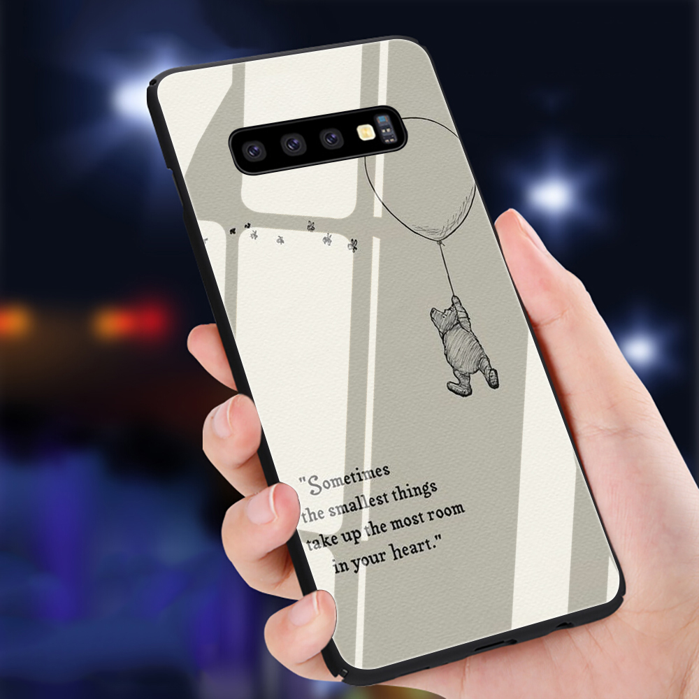 Winnie the Poohs Quotes Tempered <font><b>Glass</b></font> Phone <font><b>Case</b></font> for <font><b>Samsung</b></font> S7 S8 S9 S10 Note 8 9 10 plus A10 20 30 40 50 60 <font><b>70</b></font> image