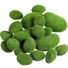 20 штук 2 размера Искусственный мох камни Декоративные Искусственный Зеленый мох покрытые камнями