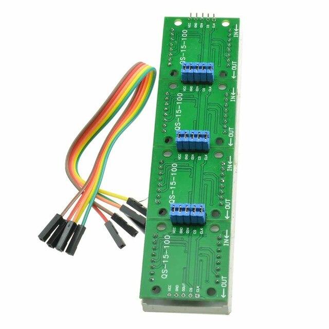 MAX7219 LED carte de Module décran à matrice de points microcontrôleur 4 en 1 affichage avec Module de contrôle de ligne 5P pour Cathode commune Arduino