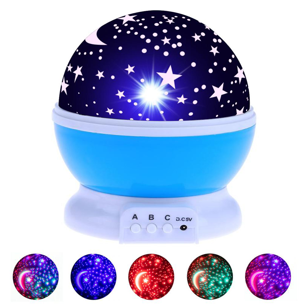 LED Rotating Night Light Stars Starry Sky LED Light Projector Moon Lamp Battery USB Kids Children Bedroom Projection Night Lamp