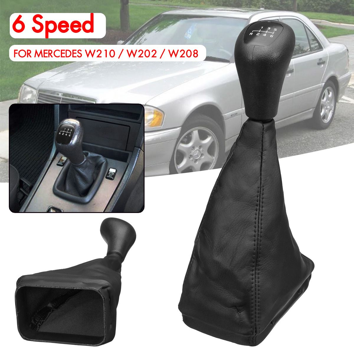 6 velocidade do carro alavanca alavanca shifter gaiter boot capa de couro para mercedes w202 c w208 clk w210 e
