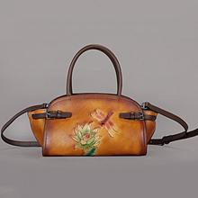 Johnature Retro Women Bag 2020 New First Layer Cow Leather H