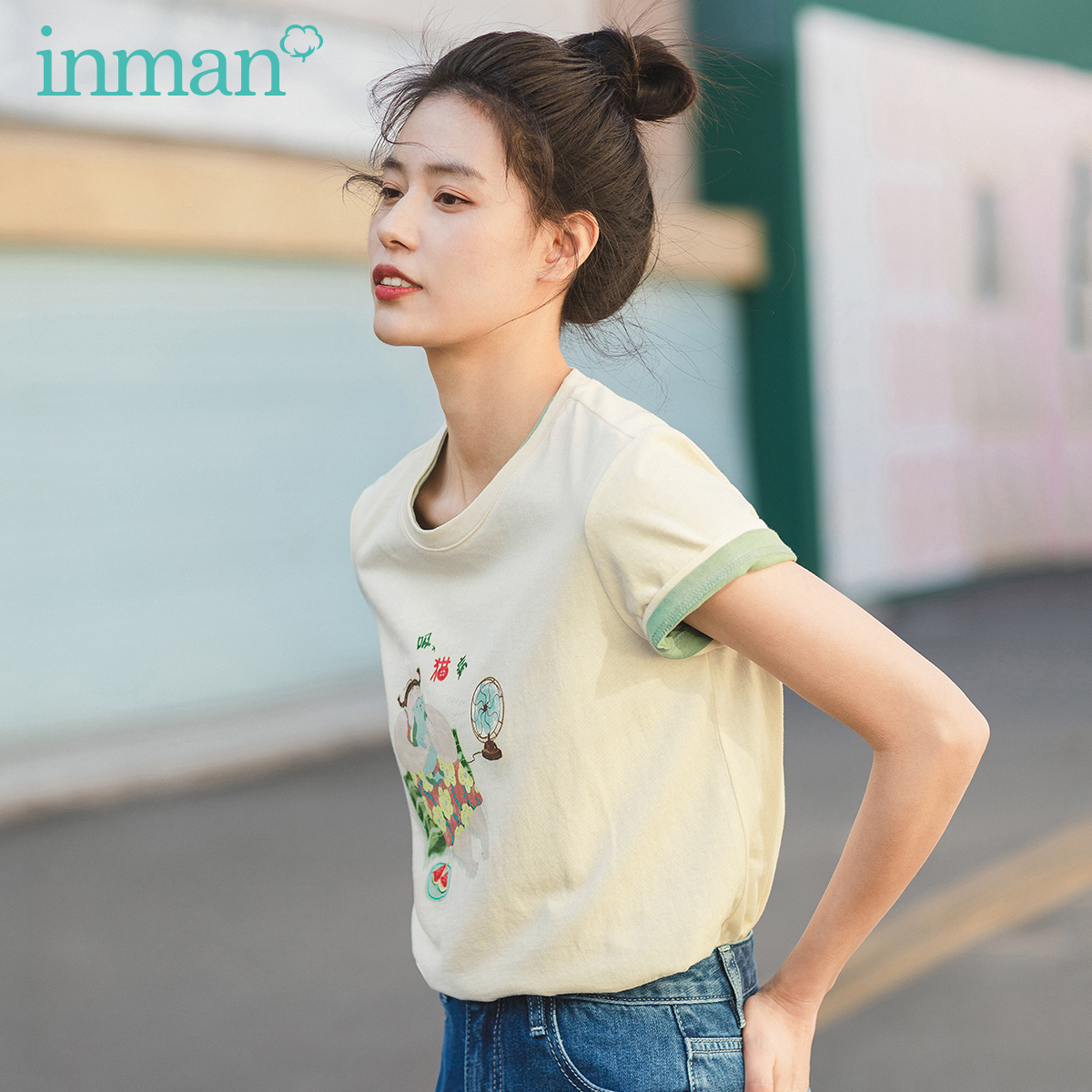 INMAN 2020 Summer New Arrival Literary Pure Cotton Round Collar Funny Printed Leisure Base T-shirt