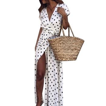 Dress Women Summer  Sexy Beach Party  Deep-V Polka Dot Slits Chiffon Short Sleeve Polka Dot Pattern  Maxi Dress  summer dress бра flexi white 3628 1w