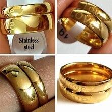 50 шт.(25 пар) влюбленные пары 6 мм 4 мм золото нержавеющая сталь обручальное кольцо для жены, мужчины, подруги, друга подарок