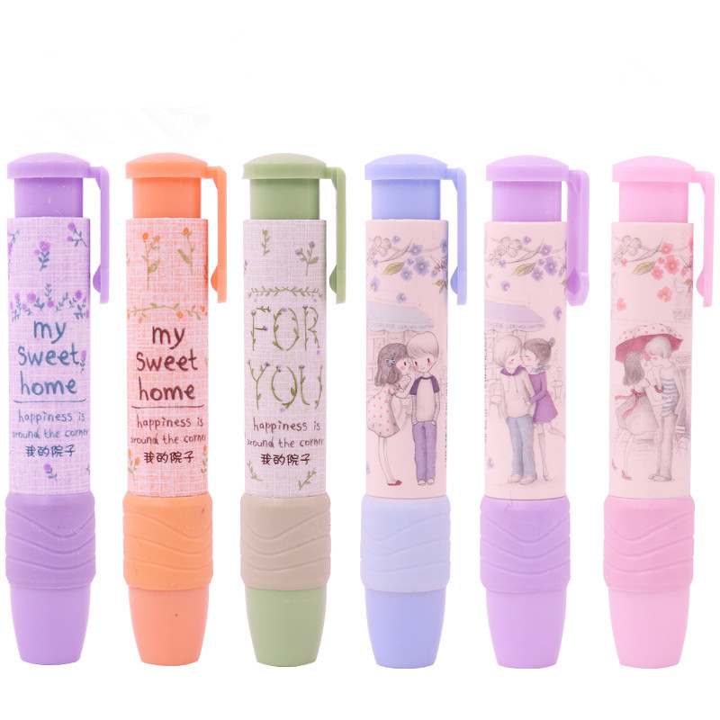 Cute Stationery Click Eraser Retractable Rubber Stick Pencil Erasers Korean Material Creative Automatic School Office Kids Gift