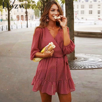 2020 Summer Women Ruffles Lace Chiffon Dress Boho Mini Beach Dress Three Quarter Sleeve Ladies Party Dresses Vestido 1