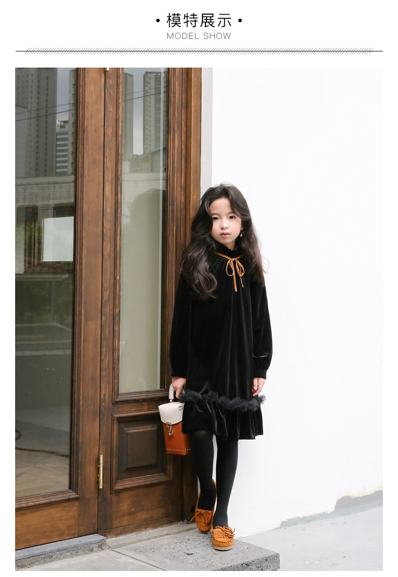 Teenage Kids Girls Winter Dress Fleece 2019 New Baby Girl Autumn Dress Black Kids Casual Dress Girl Children Top Toddler Dresses (13)