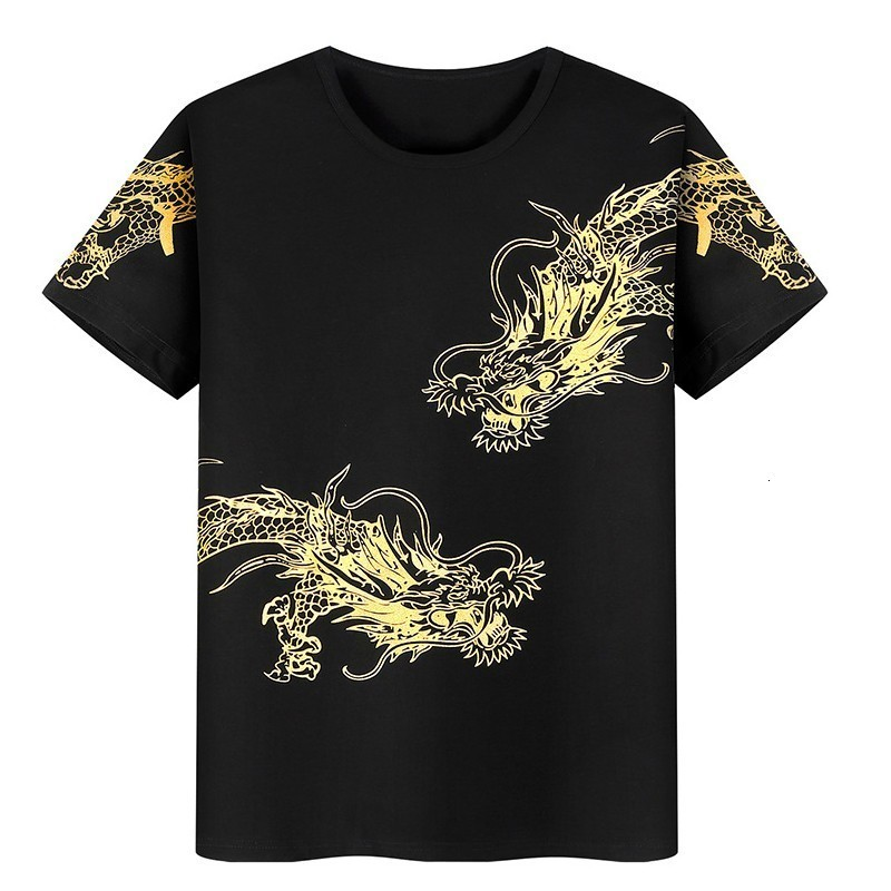 Plus Size 9XL Men Spring Summer Tracksuit Golden Dragon Printed Casual Jogging Set Ropa Deportiva Hombre T-shirt 2pcs Ensemble