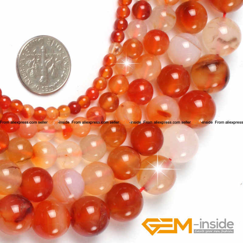 New Natural Orange Red Carnelian Agate Gemstone stone Round Beads 15.5/'/' DIY