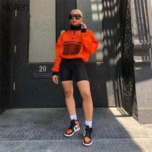 KLALIEN Long Sleeve Mesh Pocket Patchwork Collar Zipper shirt Women Autumn Orange Half Open Collar Long Sleeve Loose Crop Top