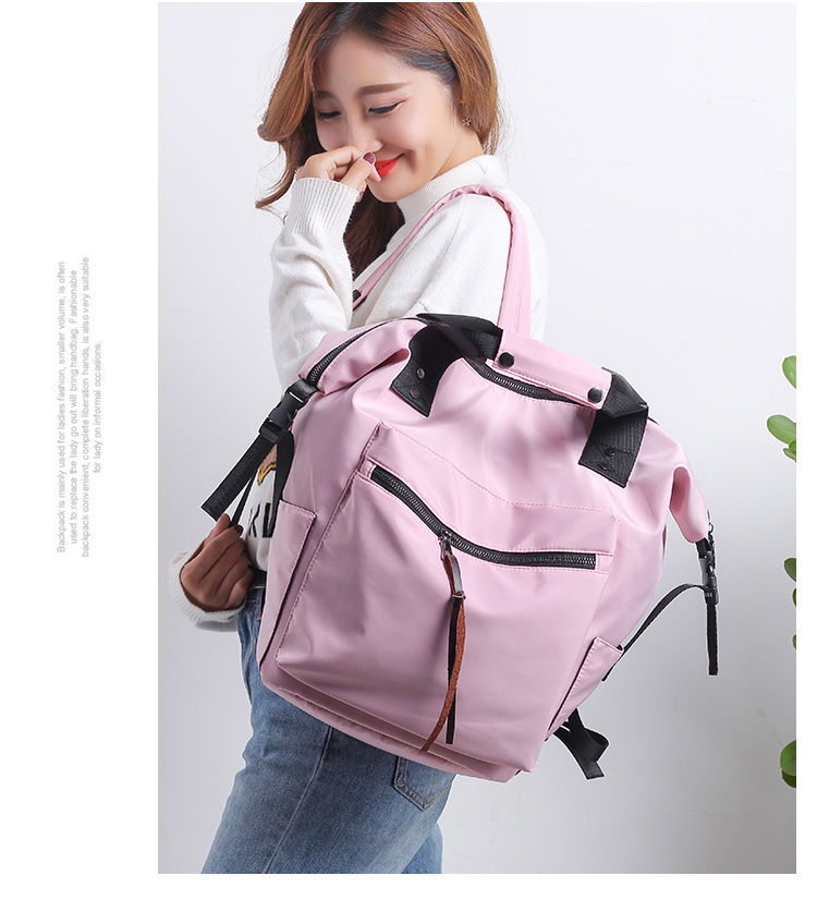 H7ef163f8afa64361b0bf2035627f4f64v Casual Nylon Waterproof Backpack Women High Capacity Travel Book Bags for Teenage Girls Students Pink Satchel Mochila Bolsa 2019