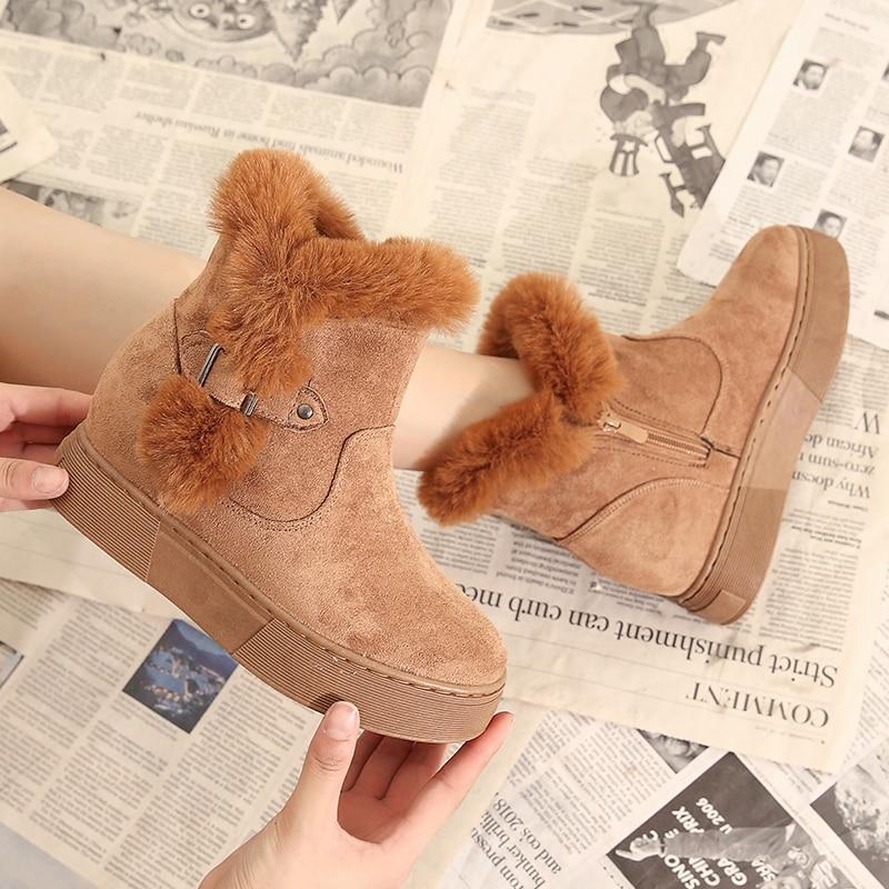 Moipheng Women Boots Tassel Height Increasing Winter Snow Booties Ankle Botas Warm Plush Waterproof Cow Suede Zapatos De Mujer