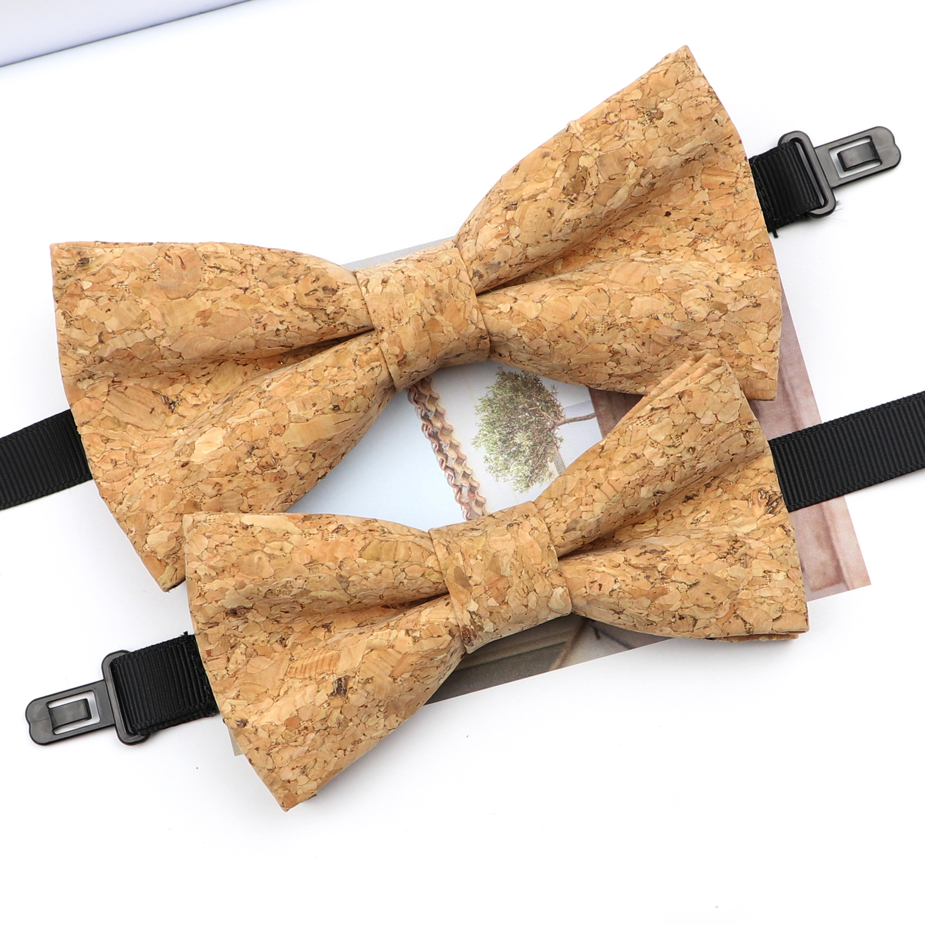 Fashion New Cork Wood Parent-Kid Bowtie Sets Fancy Adjustable Butterfly Handmade Bow Tie Wedding Party Neckwear Family Accessory