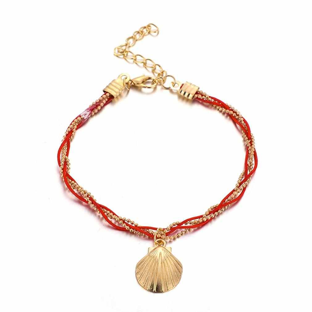 Европа и США новый богемный Национальный Ветер Пляж оболочки красный веревочный браслет на ногу Мода Бижутерия для ног