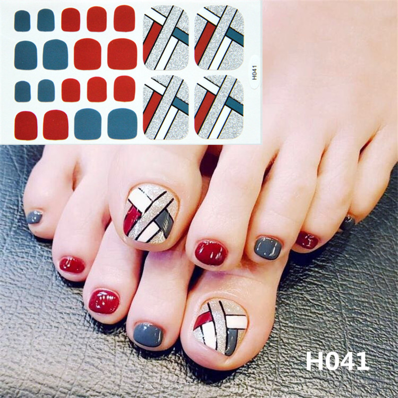 Image 3 - 22tips Korea Toe Nail Sticker Wraps Adhesive Decals Toenail Polish Strips DIY Pedicure Foot Decals Manicure Women-in Stickers & Decals from Beauty & Health