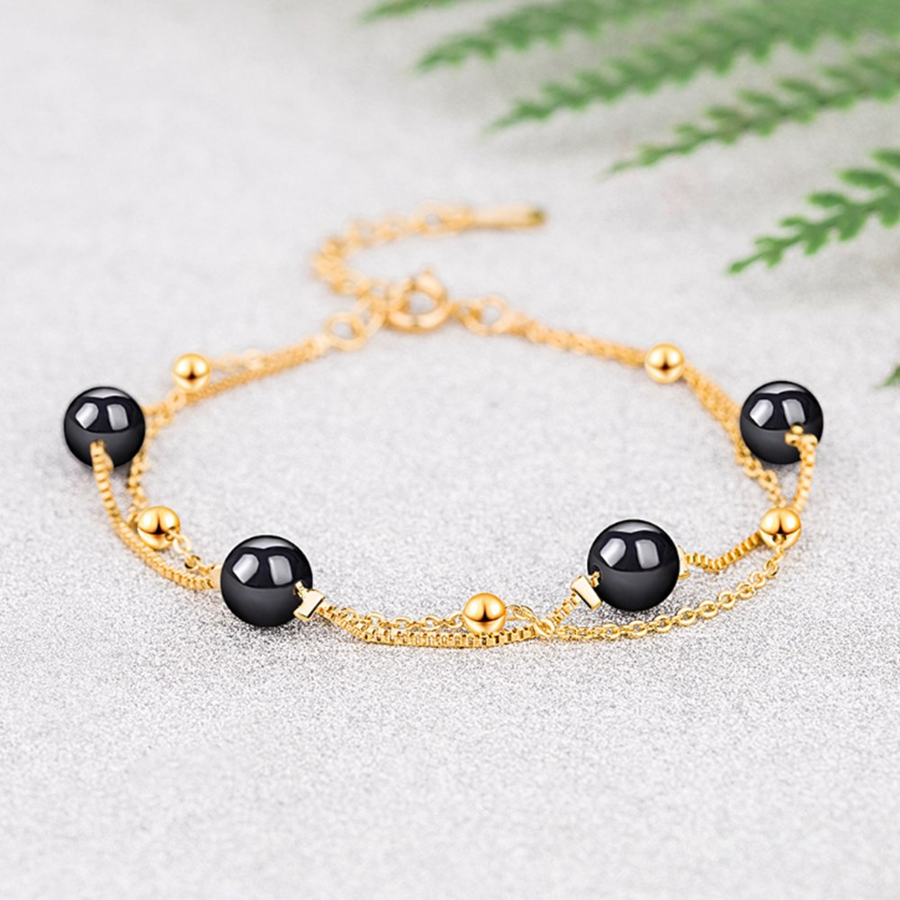 Nehzy 925 Sterling Silver New Woman Fashion Jewelry High Quality Retro Simple Black Agate Gold Silver Diy Bracelet Length 20cm Hot Deal 14e686 Cicig