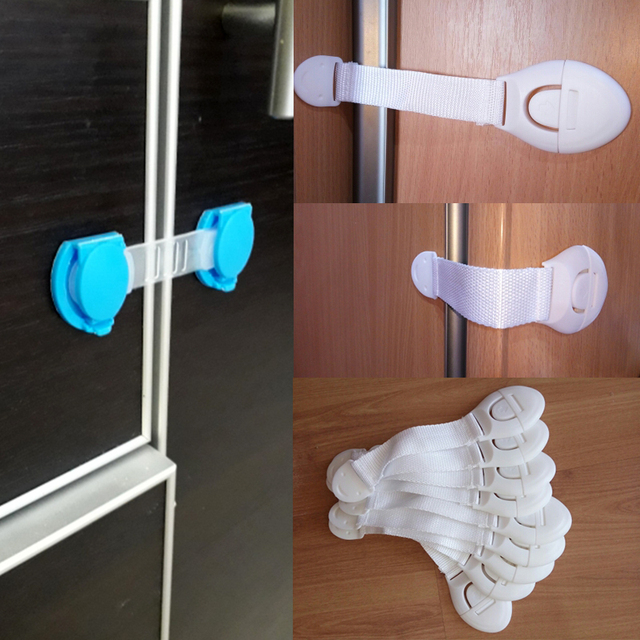 10pcs/Lot Drawer Door Cabinet Cupboard Toilet Safety Locks Baby Kids Safety Care Plastic Locks Straps Infant Baby Protection 1